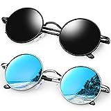 KANASTAL 2 Pares Gafas Redondos Hombres Polarizadas para Mujer Vintage con UV Protección Steampunk Estilo Retro Clásico Moda Círculo Metálico Gafas Fiesta Sunglasses Round (Negras + Azul)