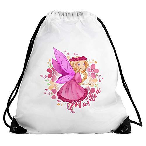 Eurofoto Turnbeutel mit Namen Marlen und Blumenfee-Motiv | für Mädchen | Sport-Beutel für Kinder | Gymbag