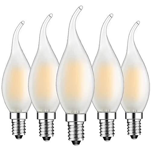 Pack de 5 bombillas E14 con forma de vela, bombilla de filamento C35, luz blanca cálida (2700 K), no regulable, filamento clásico en forma de vela, cristal mate