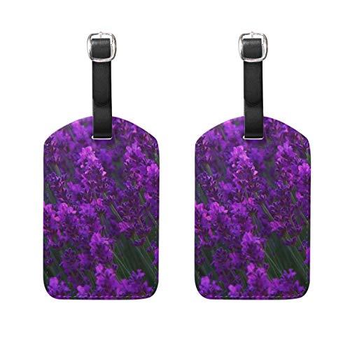 Kofferanhänger für Gepäck Koffer 2 STÜCKE Art Pattern Natural Flower Field Leder Reisetasche Adressetiketten