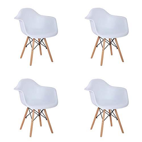 GrandCA 4er Set Stuhl mit armlehne Retro Stuhl Esszimmerstühl Club Armchair TV Armchair weiß