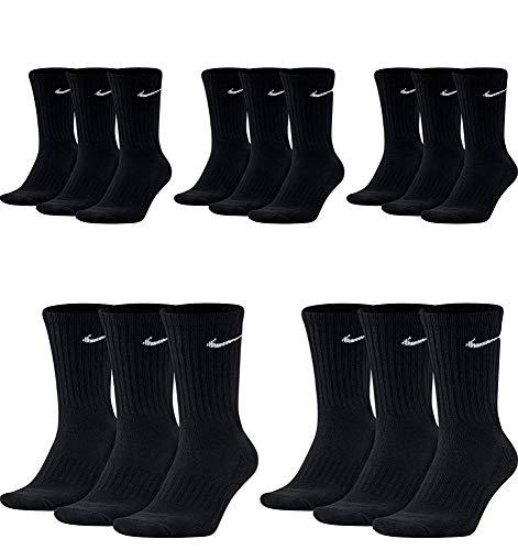 Nike SX4508 - Juego de 15 pares de calcetines de tenis para hombre, color blanco, negro y gris Negro Aprox.134 cm