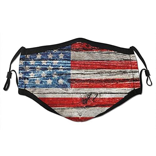 Cubierta de nariz reutilizable unisex, bandera americana pintada antigua en valla de madera oscura, cubierta de boca de polvo ajustable con filtro reemplazable