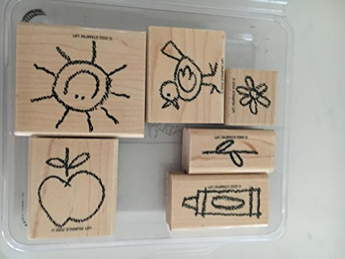 Stampin' Up! Crayon Cuties Rubber Stamps School, Apple, Bird, Sun