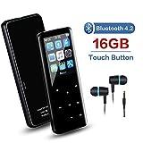 Lecteur MP3 de 16 Go avec Bluetooth 4.2, Bouton Tactile Lecteur Audio MP3 avec Radio FM/Lecture vidéo/E-Book, Construit dans Le...