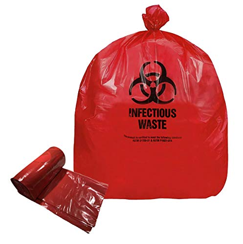 Resilia - Biohazard Bags - Hazardous Waste Disposal, Meets DOT ASTM Standards for Hospital Use, Red, 33 Gallon, 29x38 Inches, 20 Bags
