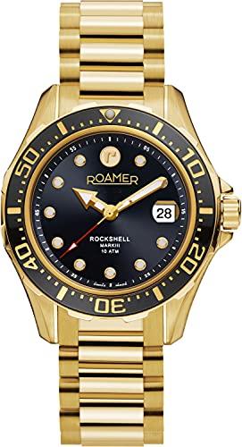 Roamer Reloj de pulsera para hombre Rockshell Mark III Chrono 44 mm, correa de acero inoxidable 220837 48 55 20