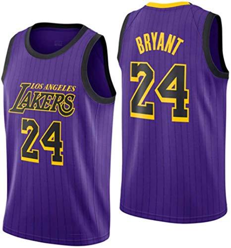 DCE Herren Trikot Kobe Bryant NO. 24 Los Angeles Lakers Sommer Trikots Basketball Uniform Stickerei Tops Basketball Anzug Trikots (Lila 2, M(48))