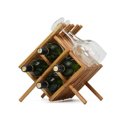 LSZHAO Innovador Ratán Hecho a Mano Estantería de Vino Superposición Escalonada Soporte Botellas Vino Decoración del Hogar para Encimeras Cocina Tablero Mesa Despensa Barras Nevera(Size:4 Bottles)
