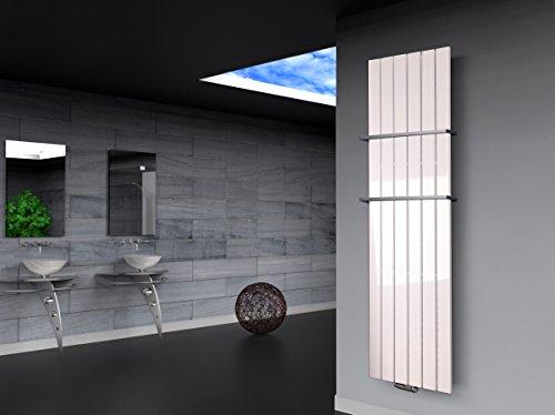 Badheizkörper Design Peking 3, HxB: 180 x 47 cm, 1118 Watt weiß + 2 Handtuchhalter (15x15mm) (Marke: Szagato) Made in Germany/Bad und Wohnraum-Heizkörper (Mittelanschluss)