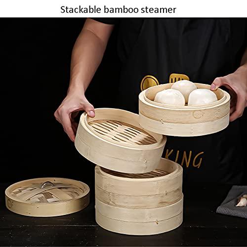 Cesta de vapor de bambú, 7 tamaños, 5 niveles, cesta de vapor de bambú, cocina de arroz natural chino, cocina de alimentos con tapa, nueva para cocinar bollos de dim sum, albóndigas, verduras,20cm