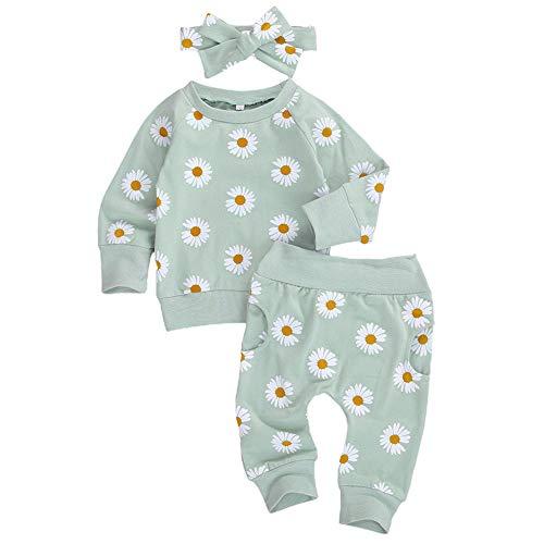 Geagodelia 3tlg Babykleidung Set Baby Mädchen Gänseblümchen Kleidung Outfit Langarmshirt Top + Hose + Stirnband Neugeborene Kleinkinder Weiche Babyset (6-12 Monate, Grün)