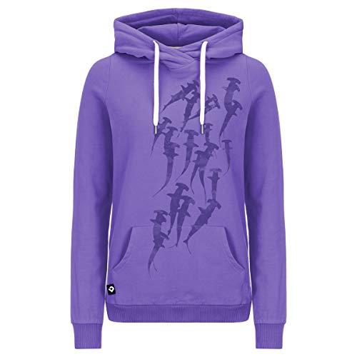 Lexi&Bö Damen Hoodie Hammerhead Swarm in Ultra violett für Taucher und Ocean Lover aus kuschelig weichem American Fleece