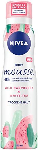 NIVEA 3er Pack Körper Mousse, Himbeer - Weißer Tee Duft, Für trockene Haut, 3 x 200 ml Spender, Body Mousse