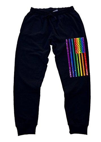 Men's Rainbow Gay Flag Black Fleece Gym Jogger Sweatpants X-Large Black
