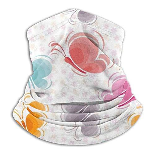 AEMAPE Mariposa Unisex Fleece A prueba de viento Calentador de cuello Calentador de rostro Tubo de cuello Bufanda para el cuello Polainas para el cuello Diadema Bandana Negro-FK