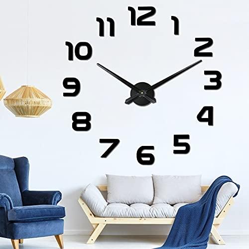 Reloj de Pared Adhesivo, XiYee Reloj de Pared 3D, DIY Reloj de Etiqueta de Pared Decoración, Reloj de Pared Digital árabe para el Hogar, Oficina, Decoración de Pared del Hotel (B)