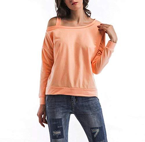 Damen Weg Vom Schulter Sweatshirt Langarmshirts Einfarbig Lässige Perfect Elegante Bluse Tops T-Shirt Herbst Style (Color : Orange, Size : M)