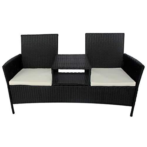 vidaXL Gartensofa mit Teetisch Tisch 2-Sitzer Gartenbank Gartenmöbel Gartenset Sitzgruppe Sofa Lounge Sitzbank Stuhl Poly Rattan Schwarz