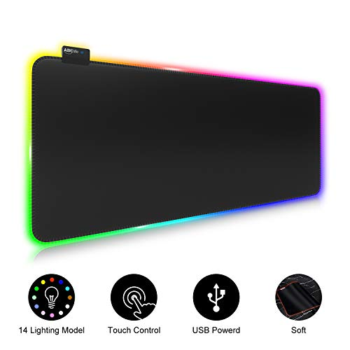 ABClife RGB Gaming Mauspad Groß, 800 x 300 mm, 7 LED Farben 14 Beleuchtungs-Modi Gaming Mouse Mat, Rutschfester Gummibasis und Wasserdichter Tastatur Mouse Pad für Computer PC Professionelle Gamer