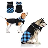 Dog Warm Winter Coat, Reversible Cold Weather Jacket for Small Medium Large Dog, Cozy Windproof British Style Plaid Vest, Reflective High Collar Pet Puppy Hiking Outdoor Thicker Fleece Clothes…