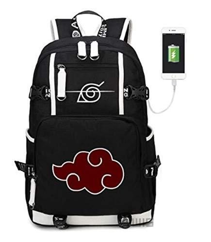 Mochila YOYOSHome del anime Naruto para cosplay, mochila para libros y ordenador portátil para la escuela con puerto de carga USB, 1 (Negro) - MUK080026