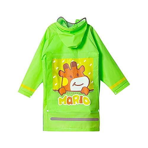 Traje de lluvia para niños ligero usable transparente impreso impermeable niños impermeable con capucha poncho lluvia niño niña capa lluvia luz lluvia, verde, 3XL