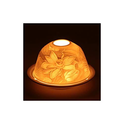Support de Veilleuse Feng Shui en Porcelaine Fleur de Lotus FindSomething Diff