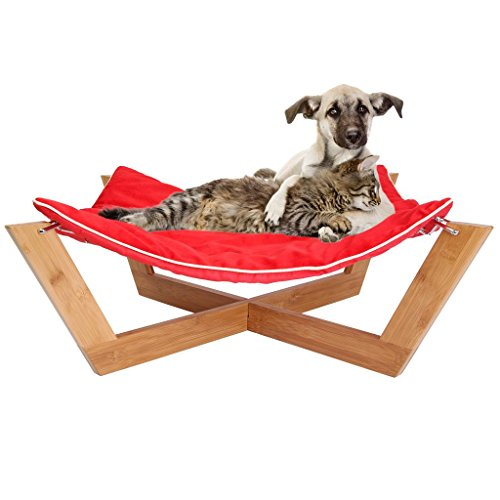 Jumbl DeluxeLarge Bamboo Cat - Dog Hammock/Pet Lounge/Bed - Features Up To 25-Pound Load Capacity Made Out of PremiumQuality