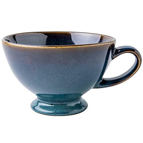 LJMG Taza Porcelana Vintage Taza De Cerámica Creativa para Sala De Estar, Taza De Café Simple con Cuchara, Vaso De Agua De Gran Capacidad para Uso En Oficinas (Color : Blue, Size : 500ML)