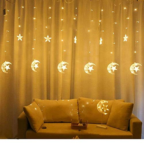 220v Eu Plug Style 5 Warm White 220v Led Star Moon Wish Ball Curtain Light Christmas Tree Garland String Fairy Lights Outdoor For Wedding Party Holiday Decor