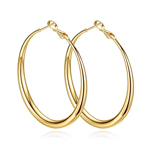 Yumay 9ct Yellow Gold Hand-Twisted Hoop Earrings for Womens,45MM Large Fashion Earrings for European.