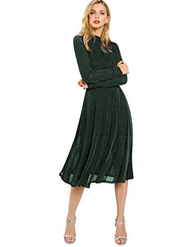 SOLY HUX Damen Midi Plissee Kleider Glanz Faltenkleid Partykleider Cocktailkleider Elegant Knielang Kleid Grn XS