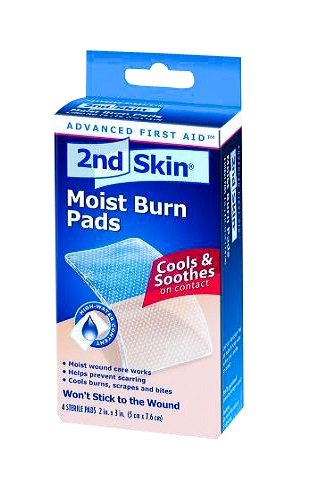 Second Skin Burn Wound Pads, Moist Burn Pad, 2x3 Inch, 4 Pack