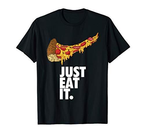 Essen Sie einfach Pizza-T-Stück schwarze T-Shirt