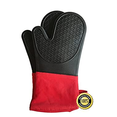 Silicone Heat Resistant BBQ Grill Oven Mitts by JY Modern, Extra Long 1 Pair, Heavy Duty Professional Grade Potholders, 100% Quality Gloves, Non-Slip, Water Resistant, Protects to 482° BBQ, Kitchen