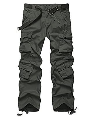 Men's Casual Military Pants, Camo Tactical Wild Combat Cargo ACU/BDU Rip Stop Trousers with 8 Pockets #7533-Dark Green,38