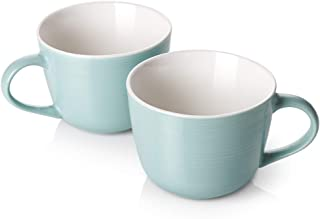 DOWAN Porcelain Coffee Mug Set, 17oz Large Jumbo Wide-mouth Soup Bowl and Cereal Mugs for Cappuccino, Coffee,Tea, Cereal, Ice Cream, Set of 2, Turquoise