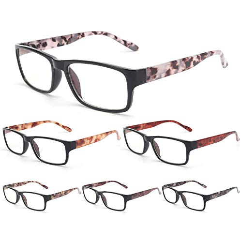 BLS 6 Pack Reading Glasses Blue Light Blocking, Fashion Computer Readers Anti Glare/Eye Strain/UV Ray Blockers Eyeglasses Women/Men (6 Pack Mix, 2.5)