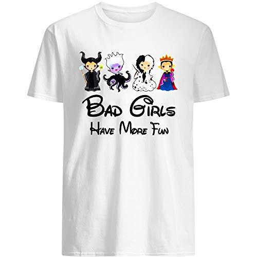 Bad Girls Have More Fun Witches Cruel Maleficent Ursula Juniors Animated Movie Cinema Short-Sleeve Unisex T-Shirt (White-M)