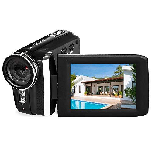 Videokamera GDV5250 Wiederaufladbare Digitalkamera FHD 1080P 12MP Camcorder 270 Grad LCD Drehbarer Bildschirm, Camcorder für Kinder/Anfänger/ältere Menschen
