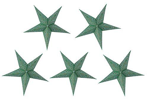 Guru-Shop 5 Stk. Papier Ministern für Lichterkette, 20 cm, Faltbar, 5`er Set - Design 16, Papiersterne 20cm für Lichterketten