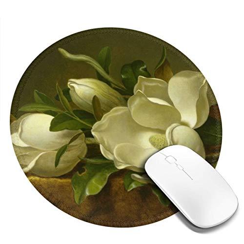 7.9x7.9in ronde muismat bureau witte tulpen op geel tafelkleed toetsenbord mat grote muis pad voor computer desktop laptop