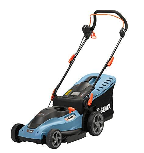 SENIX Elektro-Rasenmäher, Mäher für einen gepflegten Garten, 1600 W Elektromotor, 38 cm Schnittbreite für kleine bis mittlere Rasenflächen, mit 45 L Fangkorb & Füllstandsanzeige