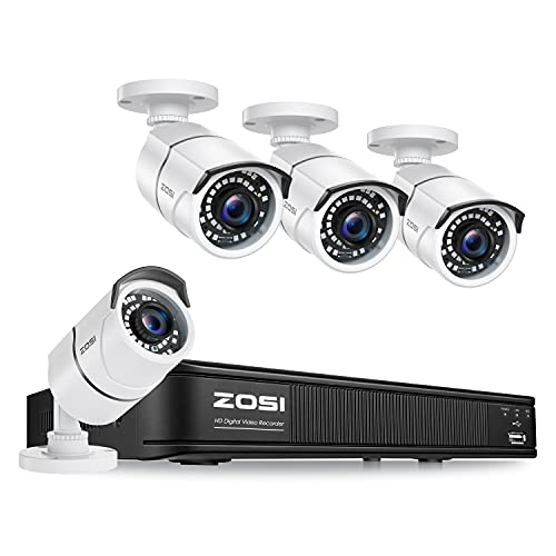 ZOSI 1080p H.265+ Security Camera System for Home Outdoor Indoor, 5MP Lite 8 Channel CCTV DVR and 4 x 1080p Weatherproof Bullet Cameras with 120ft Night Vision and 105°Wide Angle (No HDD Included)