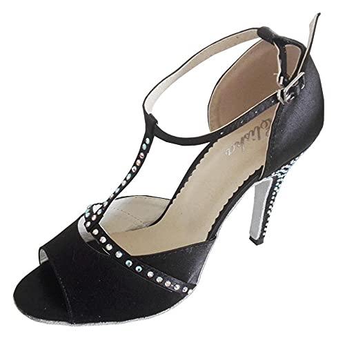Chaussures de danse latine à bout ouvert et semelle souple pour femme - 10,2 cm, noir (Rhinstone Noir Talon 10 cm), 38.5 EU