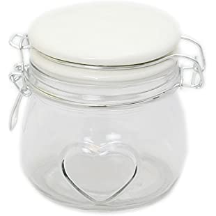Premium Kitchen Clear Glass Heart Style Food Storage Jar With White Clip Flip Top Lid 11Cm:Wenstyle