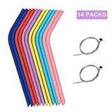 Straws Drinking Reusable Silicone Straws 12 PCS Reusable Straws & 2 Cleaning Brush 10 Inch Long Reusable Straw for 20oz and 30oz Tumbler Straws BPA Free and Dishwasher Safe (14 Packs)