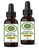 (2-Pack) Hemp Oil Extract for Pain & Stress Relief – 1000mg of Pure, Organic Hemp Extract – All-Natural, Non-GMO, Vegan – Made in USA – Reduces Inflammation, Pain, Stress & Anxiety - Improves Sleep