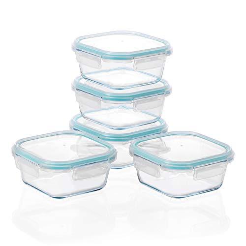 Amisglass Recipientes de Cristal para Almacenamiento, Juego de 5 Piezas de Contenedores Herméticos de Vidrio de Comidas con Tapas, Envase para Alimento para Hogar, Cocina y Restaurante - 0.7L